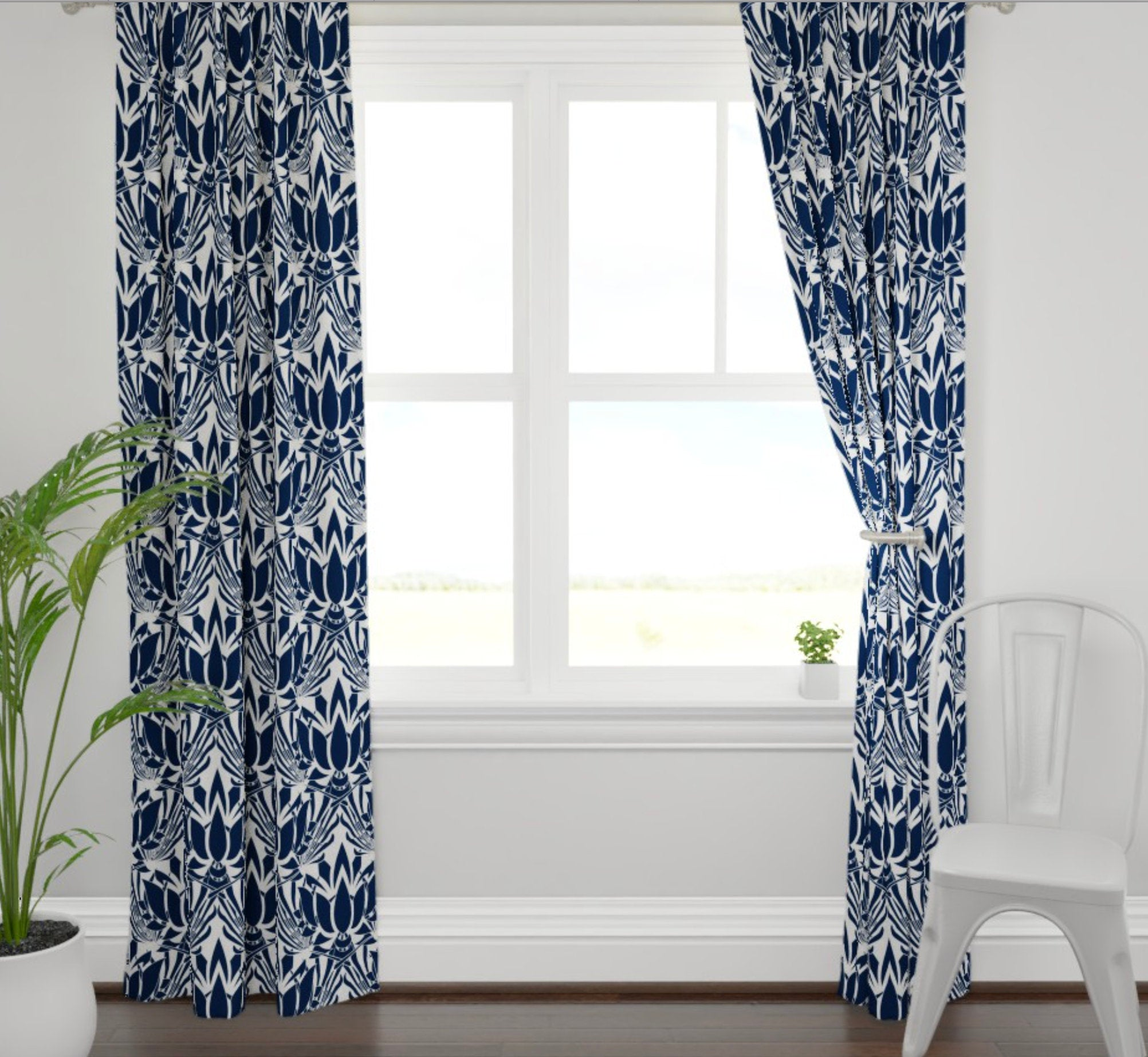 Lotus print curtains navy curtains dining room curtains navy living room  curtains navy lotus fabric blue lotus fabric dining room drapes