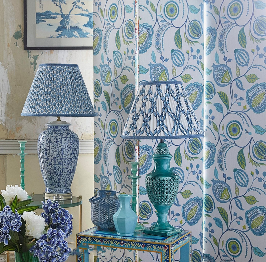Blue Green curtains chinoiserie curtains jacobean curtains blue green