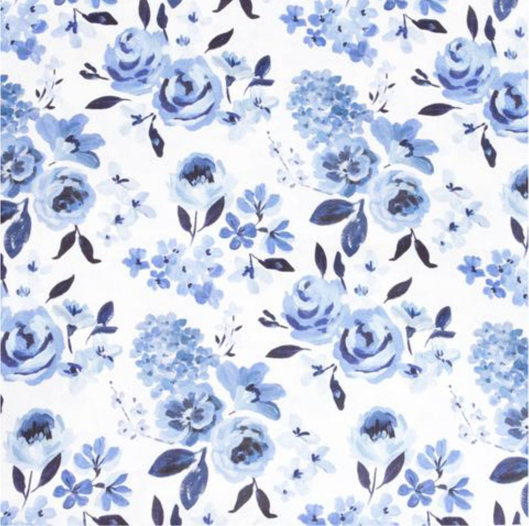 Caitlin Wilson Fabric CURTAINS watercolor flower curtains HIGHLAND FLORAL curtains custom curtain panels floral curtain panels linen blue