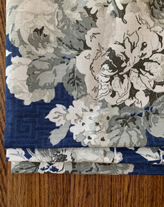 Thibaut Wild Flora valence window shade blue faux roman shade relaxed shade thibaut valance thibaut fabric cream ivory blue floral roman