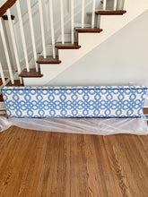 Blue White Cornice Lee Jofa Lilly Pulitzer Well Connected Fabric in Blue upholstered cornice large boys room valence sunroom valence navy