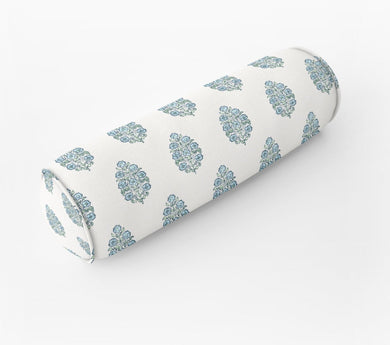 Mughal flower pillow  lumbar block print Bed bolster round bolster linen long bolster bedroom pillow long lumbar pillow chenille pillow blue