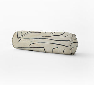 Kelly Wearstler GRAFFITO pillow beige round bolster extra long bolster bedroom pillow long lumbar pillow onyx ivory bed pillow black cream