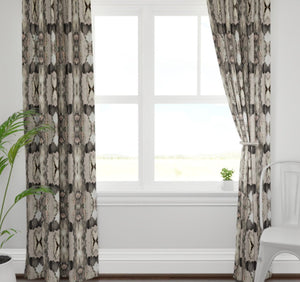 Stretched ikat curtains paint stroke curtains gray beige blush graphite white curtains ikat curtains boho curtains modern curtains grey ikat