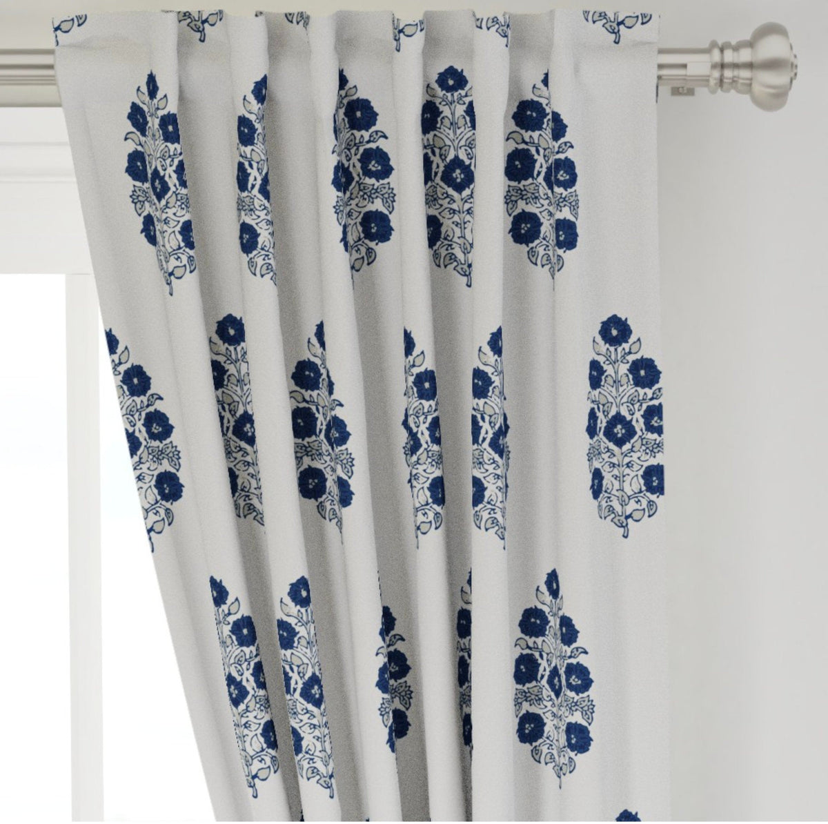 Mughal Flower Curtains Navy Beige White Curtains Indian