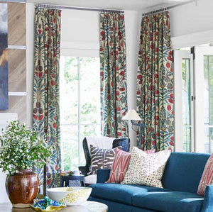 Floral Curtains THIBAUT curtains blue red linen curtain panels thibaut drapery teal chinoiserie curtains large floral curtains blue floral