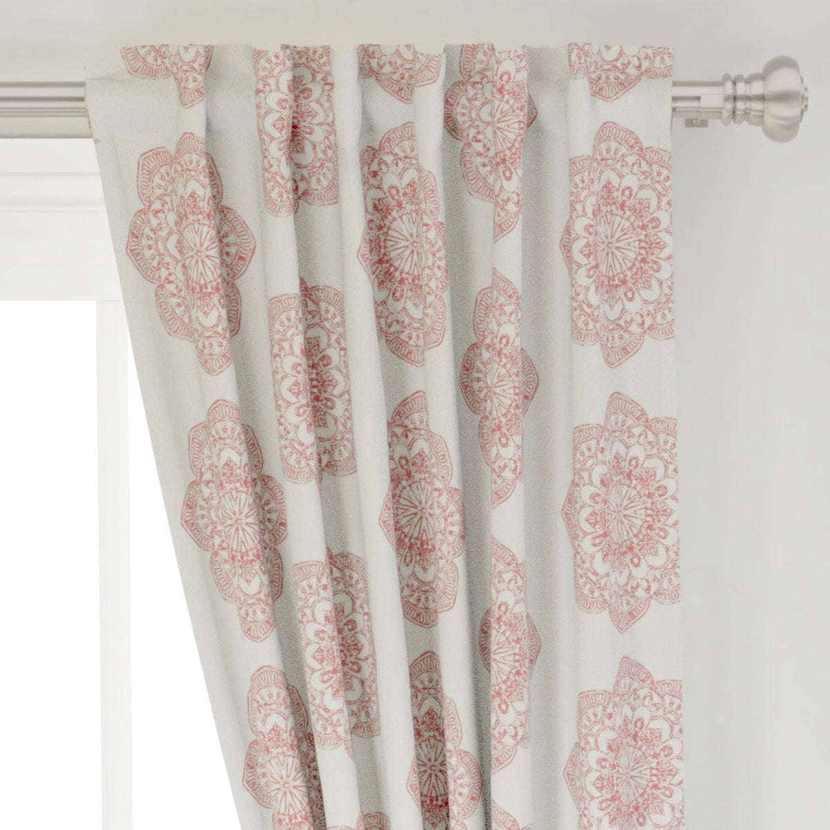 Red Chambray Curtains Medallion Curtains Red Farmhouse