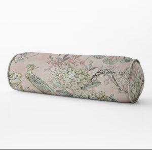 Floral Pheasant pillow blush bolster pillow Long lumbar pillow miles talbott pillow thibaut bolster pillow blush pink lumbar bed neck roll