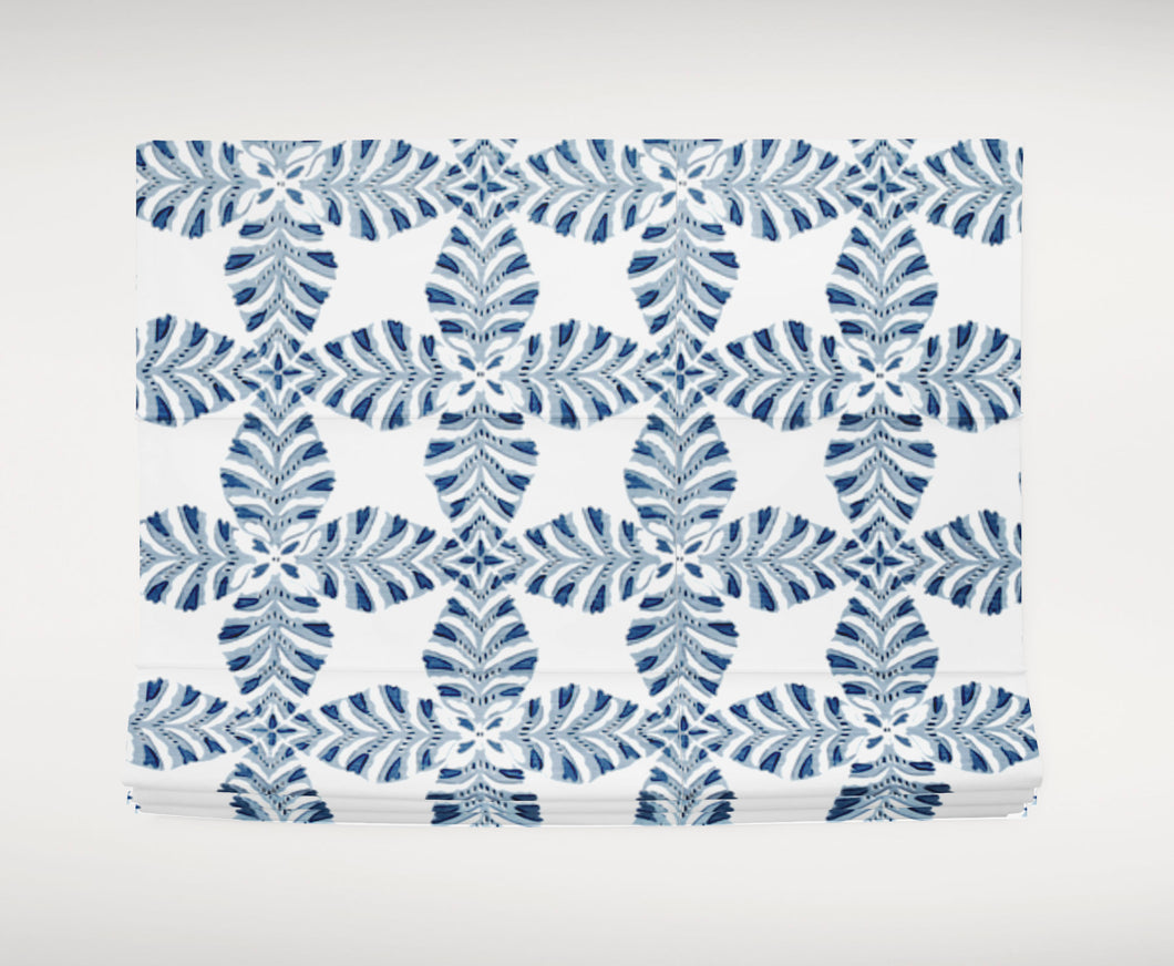 Blue grey roman shade blue grey fabric blue gray roman shade Thibaut Starleaf fabric