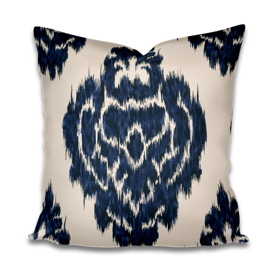 Blue Ikat Pillow cover navy cream pillow cover kilim pillow cover kalah pillow cover large ikat pillow cover navy medallion pillow cover