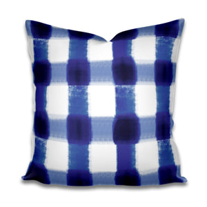 Blue Buffalo Check Outdoor pillow cover, throw pillow cobalt blue pillow cover Patio Porch cushion cover indoor outdoor pillow cover blue