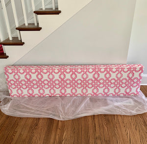 Pink White Cornice Lee Jofa Lilly Pulitzer Well Connected Fabric in Conh Pink upholstered cornice large girls room valence sunroom valence