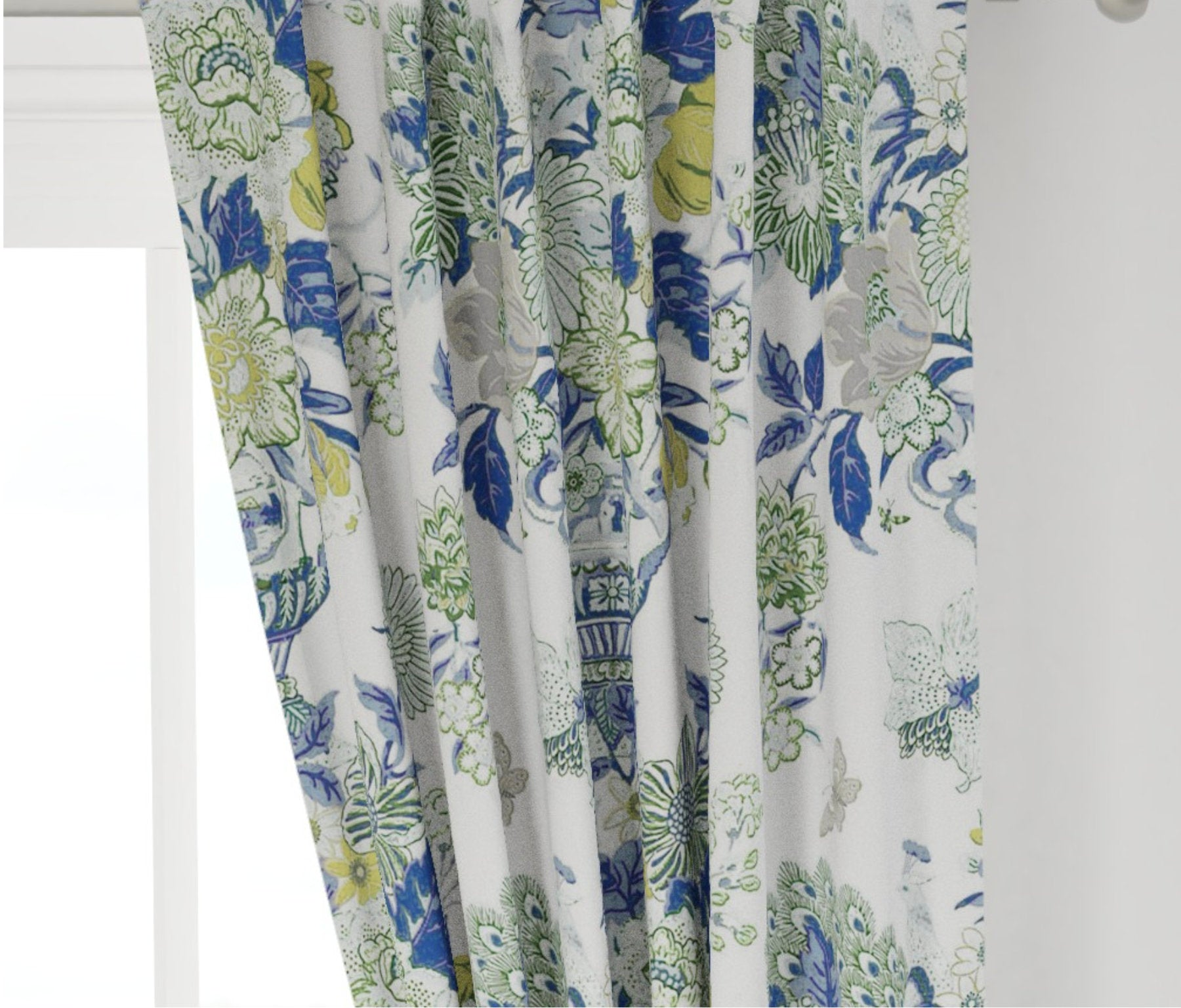 Blue Green Curtains Blue Green Floral Vase Large Floral Curtain Custom Jll Home