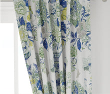 Blue Green Curtains blue green floral vase large floral curtain custom chinoiserie curtain panel extra long blue curtains blue green yellow