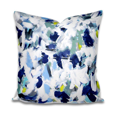 Painterly Pillow cover navy eucalyptus green chartreuse blue brush strokes paint stroke pillow cover painterly throw pillow painterly accent