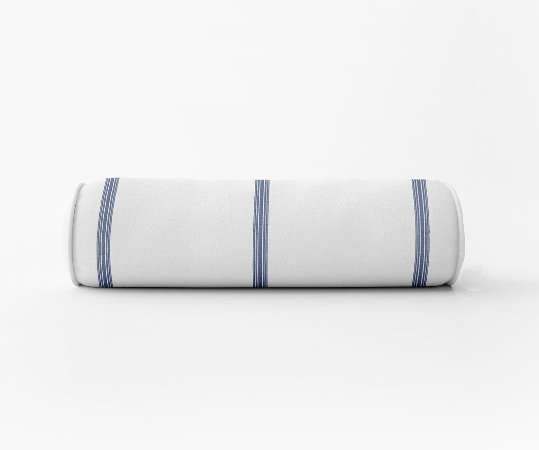 STRIPED BOLSTER PILLOW ticking stripe bolster french blue bolster french ticking stripe lumbar modern farmhouse bolster round bolster pillow