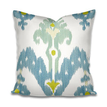 QUICK SHIP Raja pillow schumacher pillow raja sky linen silk martyn lawrence bullard pillow raja pillow cover blue aqua chartreuse ivory