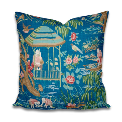 Yangtze River Pillow Cover Schumacher Yangtze River pillow aqua chinoiserie pillow asian scene pagoda chinese garden pillow schumacher pillo