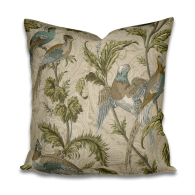 Pheasant Pillow cover pheasant print pheasant fabric bird pillow cover pillow with pheasants on it henley pillow pheasant floral beige tan