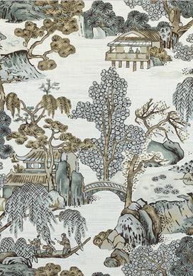 Grey beige Curtains Thibaut Curtains Large Floral curtains Asian Scenic thibaut drapes drapery extra long custom size extra wide oriental