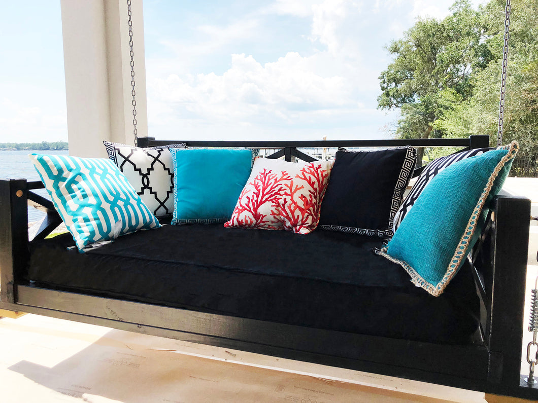 Porch Swing Cover Black Mattress Cover Piping Outdoor Bed Twin Mattres Jll Home