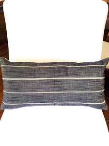 SALE black ivory stripe pillow 12x20 lumbar one left boho black pillow boho pillow black white stripe pillow ivory stripe pillow charcoal