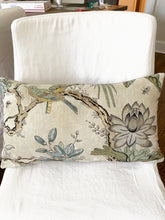 QUICK SHIP TWO left lumbar pillows 14 x 20 Thibaut Villeneuve grey yellow beige soft pillows thibaut pillow peacock print phoenix pheasant
