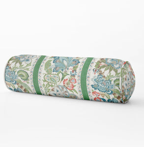 Schumacher Anjou Stripe pillow floral lumbar floral Bed bolster round bolster blush bolster pink long bolster bedroom floral neck roll blush
