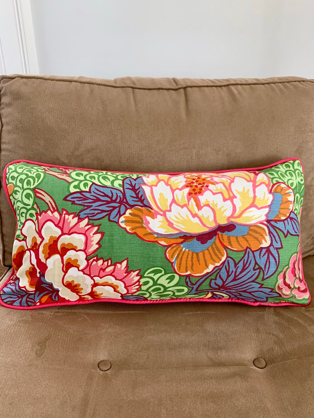 QUICK SHIP Thibaut Honshu Green 12x24 lumbar Only FEW left green pink white pillow cover thibaut pillow pink piping green pink white floral