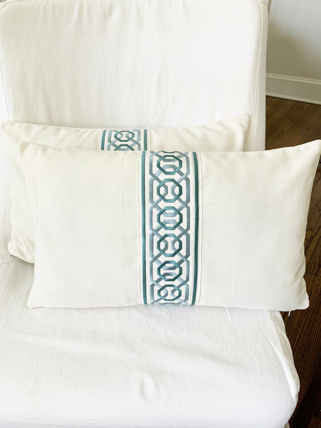 QUICK SHIP Greek Key trimmed pillow 12x20 lumbar Samuel and Sons wide trim pillow ODORI Mineral embroidered trim offwhite and aqua blue trim