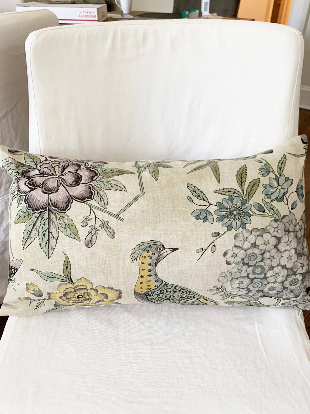 QUICK SHIP FEW left lumbar pillows 14 x 24 Thibaut Villeneuve grey yellow beige soft pillows thibaut pillow peacock print phoenix pheasant