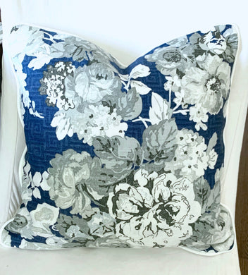 SALE Thibaut Wild Floral navy pillows 20x20 white welt piping Only two left honshu pillow cover large floral pillow navy blue cream grey