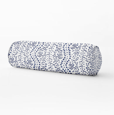 Les Touches lumbar blue dot print Bed bolster round bolster les touches blue long bolster bedroom pillow long lumbar pillow neck roll pillow