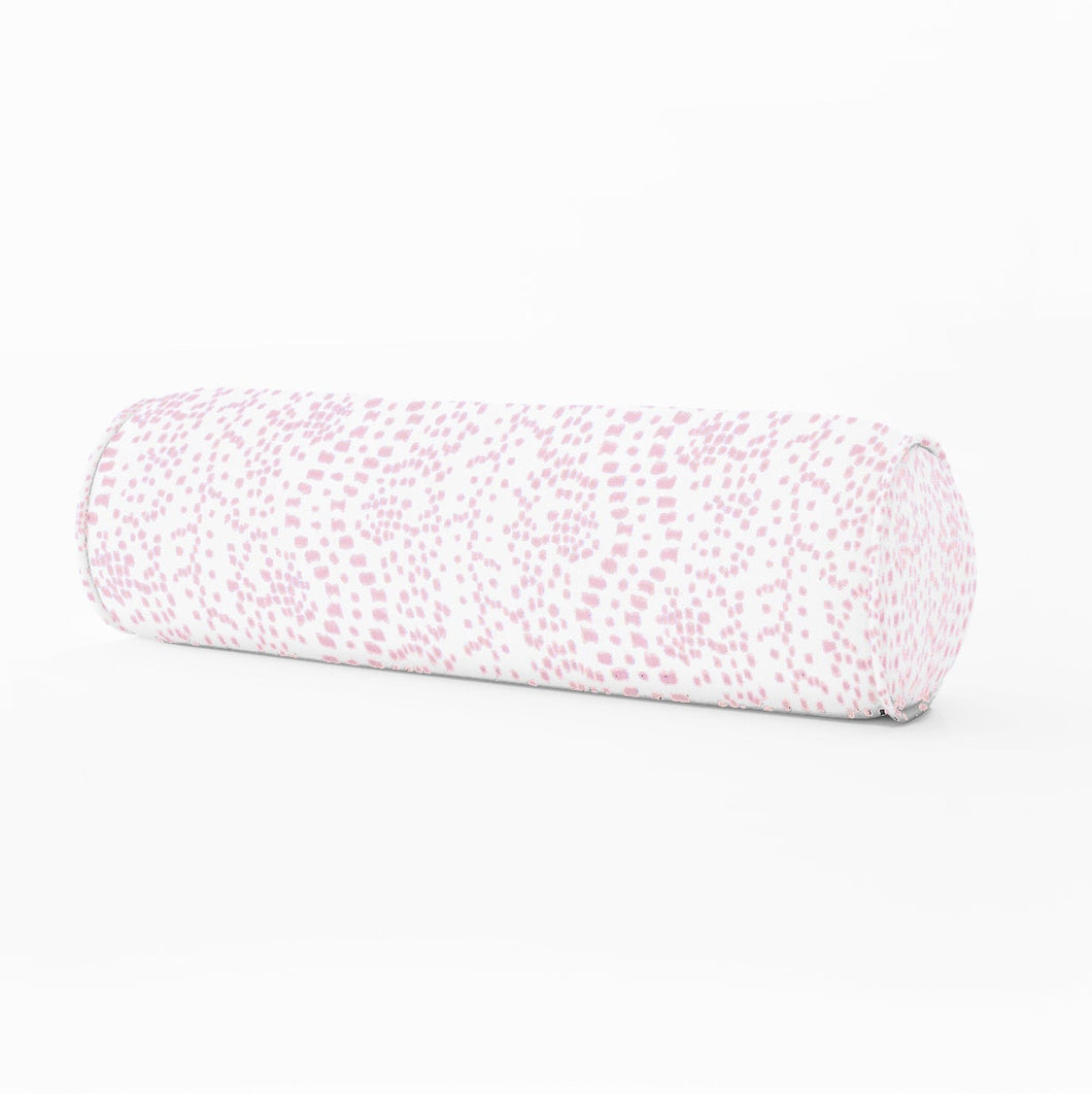 Les Touches lumbar petal pink dot print Bed bolster round bolster les touches pink long bolster bedroom pillow long lumbar pillow neck roll