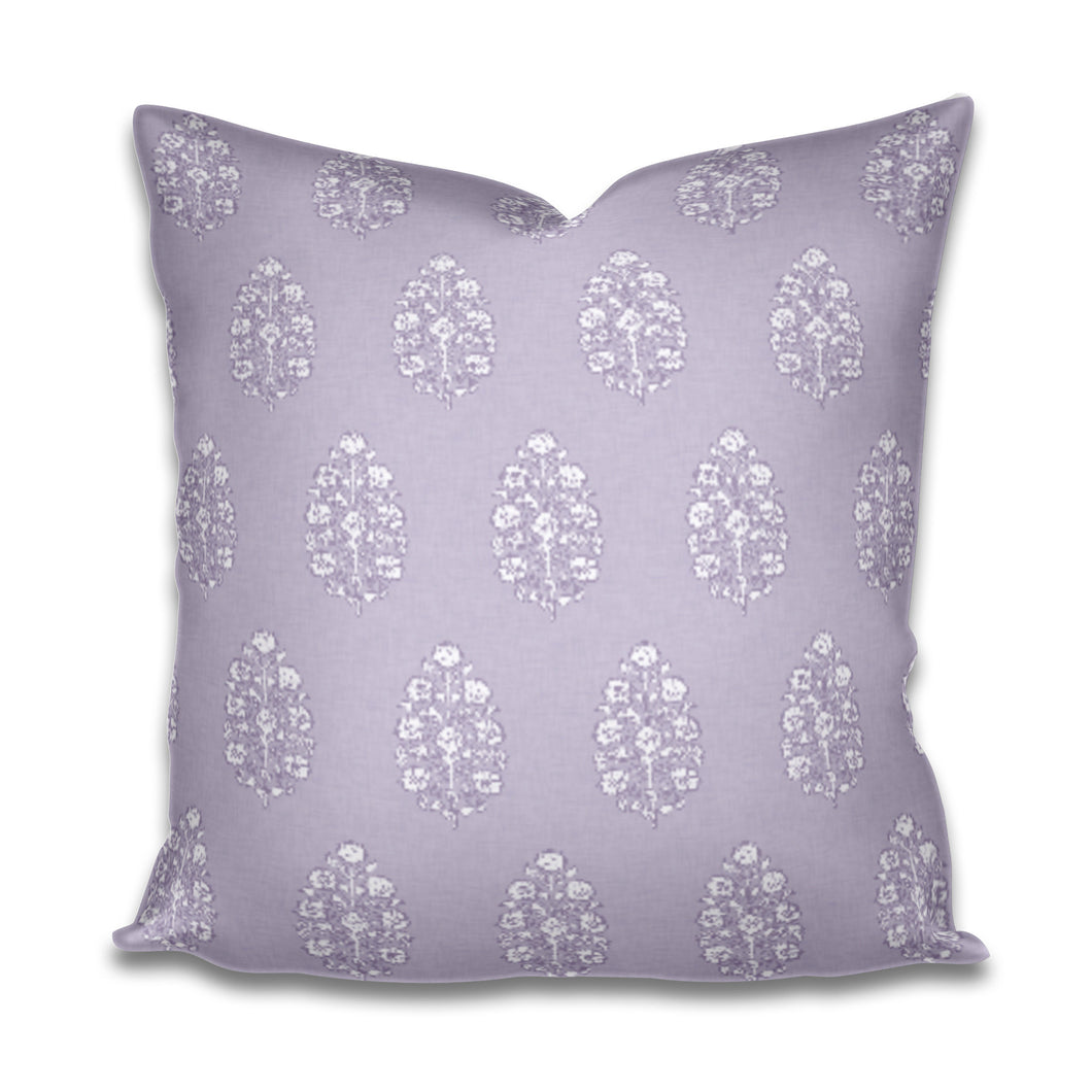 Purple pillow lavender Indian Mughal Mudghal Flower Indian Linen India Thistle Flower Lumbar Violet Pommia Block Print Fine Textiles Kashmir