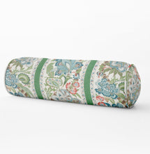 Schumacher Anjou Stripe pillow floral lumbar floral Bed bolster round bolster green blue pink long bolster bedroom floral neck roll pillow
