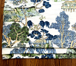 Thibaut ASIAN SCENIC blue green valence window shade blue faux roman shade thibaut shade thibaut valance thibaut fabric chinoiserie
