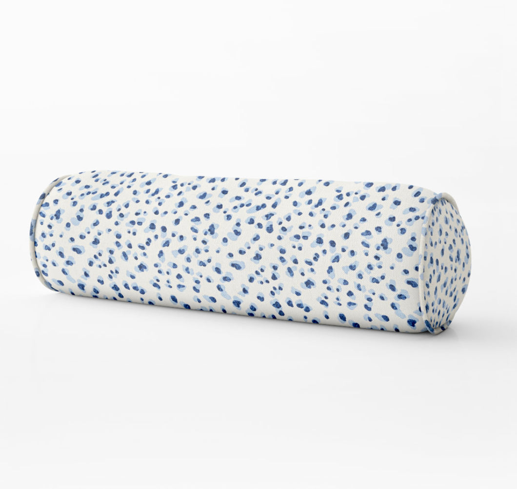 Blue dot PILLOW blue leopard print bolster pillow cheetah print lumbar bolster long bed bolster blue lumbar pillow periwinkle blue dot dots