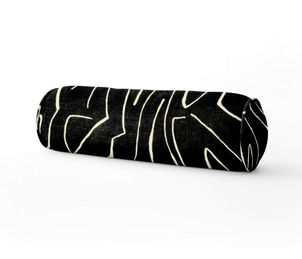 Kelly Wearstler GRAFFITO ONYX pillow black round bolster extra long bolster bedroom pillow long lumbar pillow onyx ivory bed pillow black
