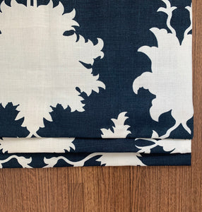 Navy faux roman shade Garden of Persia Schumacher shade valence window shade faux roman shade large floral valance blue faux shade