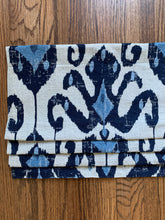 Faux Roman shades blue ikat QUICK SHIP faux roman shade blue kitchen valance flat valence blue ikat window shades faux shade navy ikat shade