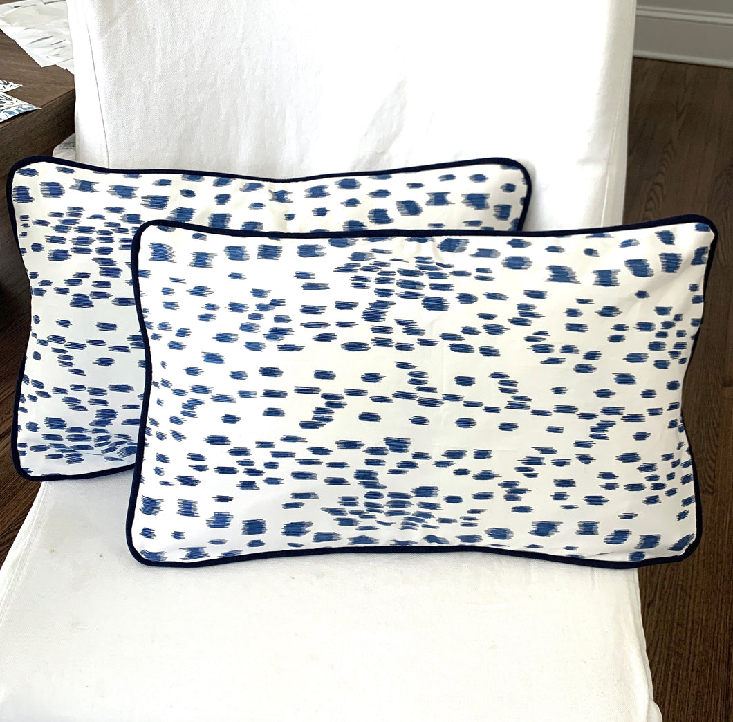 QUICK SHIP Les Touches pillow 12x20 lumbar Only two left blue and white pillow cover Brunschwig and Fils pillow blue piping welt blue dots