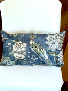 QUICK SHIP THIBAUT Villeneuve navy pillows pheasant pillow pheasant floral pheasant pillow 14 x 24 pillow 14x24 lumbar pillow navy floral
