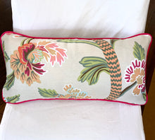 QUICK SHIP Thibaut Janta Bazaar 14x24 lumbar Only FEW left beige pink white pillow cover thibaut pillow pink piping green pink white floral