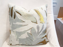 QUICK SHIP Robert Allen pillows 16x16 botanical pillow covers Only two left neutral colors palm leaf pillow palms pillow beige chartreuse