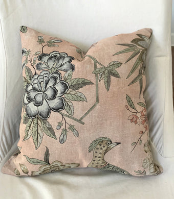 QUICK SHIP Thibaut Villeneuve floral pillows 18x18 blush pink pillow thibaut pillow villeneuve pillow blush pillow Floral Pheasant pillow