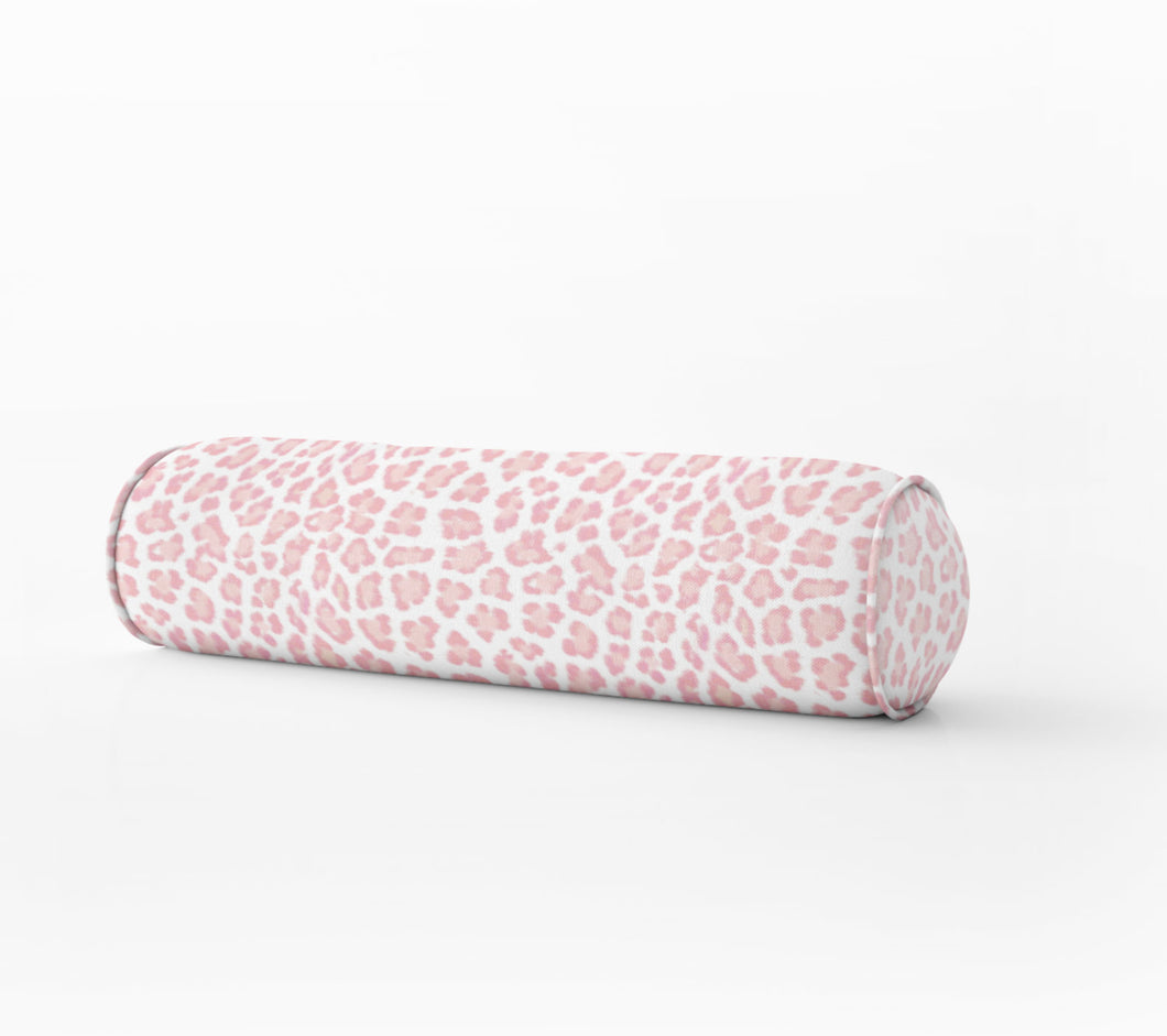 Blush Leopard print lumbar Bed bolster round bolster pink leopard cheetah long bolster bed lumbar pillow long lumbar pillow chenille pink