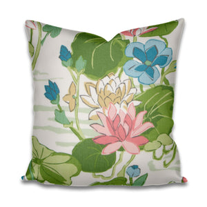 Pink Green Blue Pillow cover asian scene fabric water lily pillow cover pillow with pink aqua green chartreuse pink blue pillow lily pad