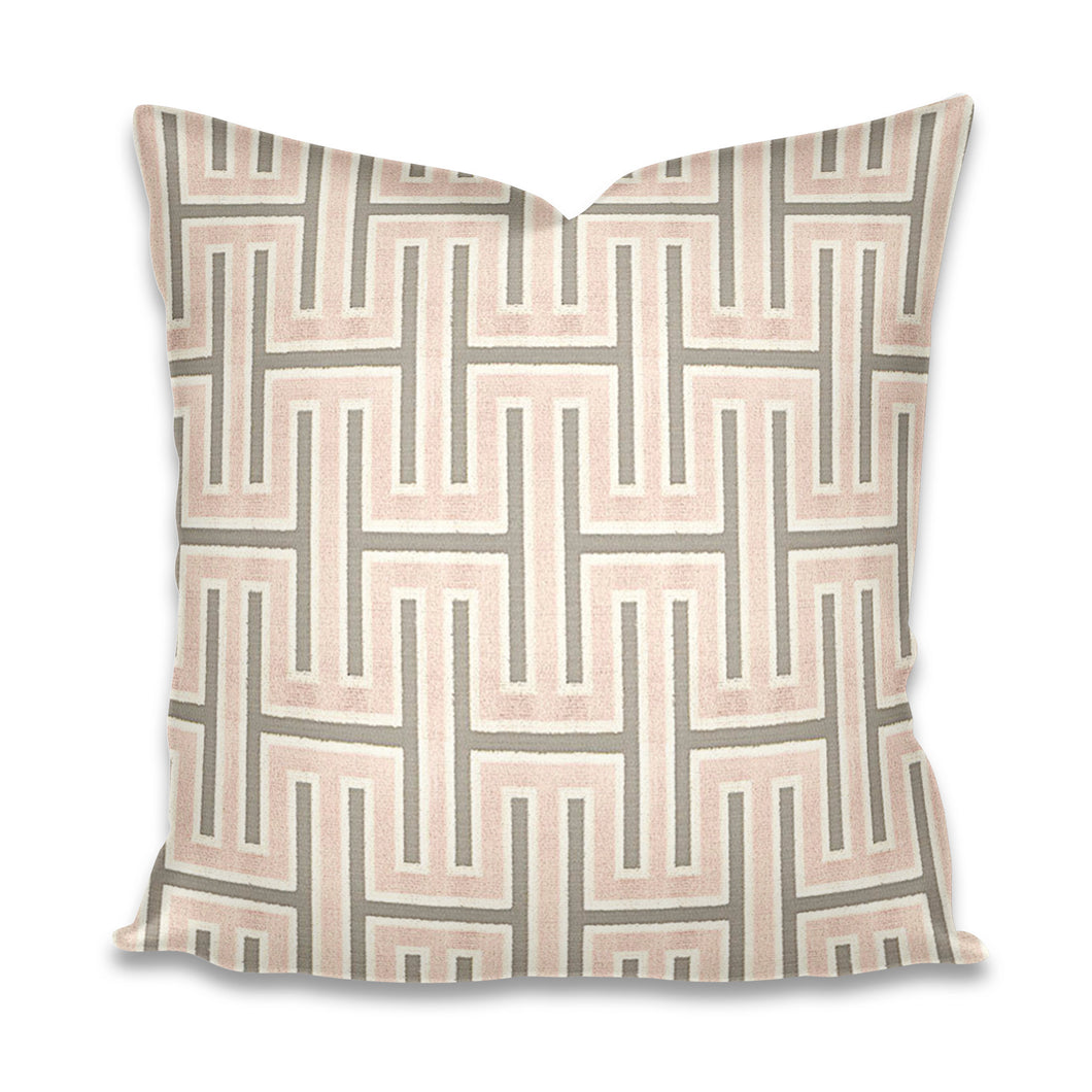 Blush Velvet Pillow with Gray velvet pillow cover blush grey greek key pillow pink greek key blush greek key pillow grecian cut velvet rose