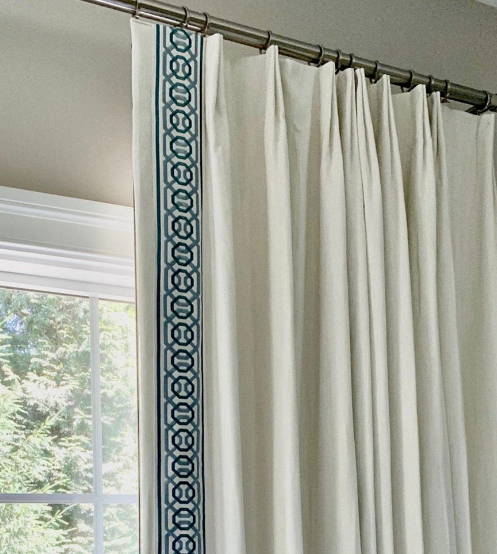 Samuel & Sons Trim curtains with trim wide trim tape trim aqua greek key trim green curtains wide tape 4